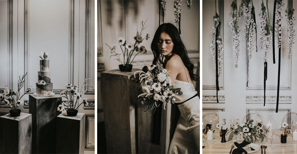 Minimalist Monochrome Inspiration by The Bijou Bride with Ranunculus, Anemones & White Genista Flowers | Igor Demba Photography | Gione da Silva Film