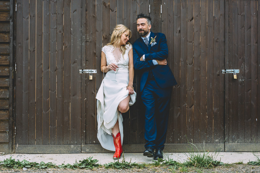 Bride In Red Cowboy Boots // Image By Louise Griffin