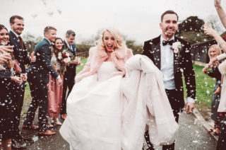 Blush Pink Winter Wedding with Customised Faux Fur Coverup by Lemonade Pictures