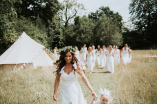 Boho Tipi Wedding With Bride In Hollie Dress By Grace Loves Lace And 12 Bridesmaids In White Dresses