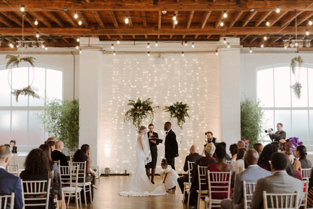 Green & White Luxe, Modern Minimalist City Wedding by The Curries | Bride In Dress By Pronovias | Venue Trinity Buoy Wharf