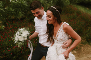 Lace Inbal Dror Wedding Dress for a Destination Barcelona Wedding Weekend | Outdoor Wedding Ceremony | White Flowers & Foliage | Marcos Sanchez