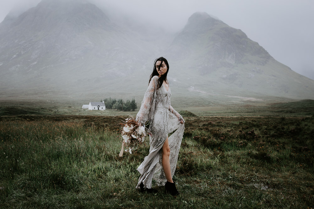 Embellished 'Astraea' Ritual by Brooke Tyson Bridal Gown | Celestial Vale Scottish Highlands Inspiraiton | Heavenly Blooms | Bonnie Jenkins Photography