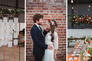 Boho Bride in Laure De Sagazan Baudelaire Bridal Gown | Industrial Venue 92 Burton Road Sheffield | Floral Bridesmaid Dresses | Maytree Photography