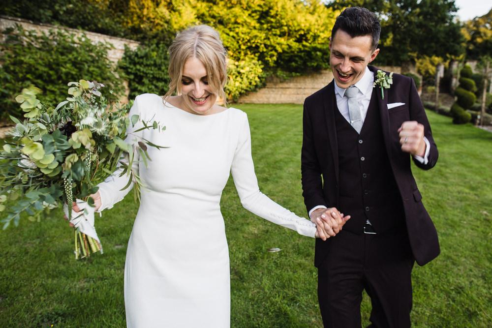 Bride In Minimal Wedding Dress