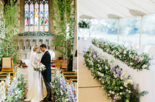 Farmers Daughter Floral Fairy Tale | Papakata Sperry Tent Wedding at family home | Sassi Holford Dress with added ivory Ostrich feathers to veil | Manolo Blahnik shoes | Images by Melissa Beattie