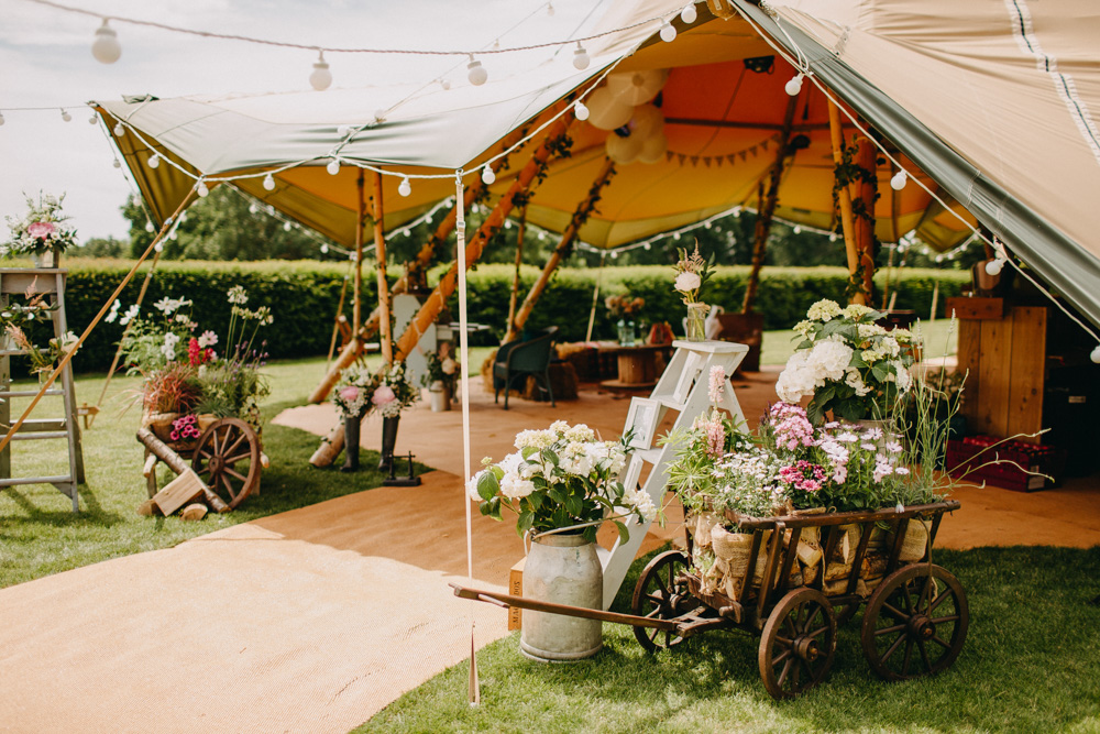 DIY Rustic Tipi Wedding at Riverhill Gardens, Sevenoaks | Outdoor Ceremony | Halo & Wren Wedding Dress | Frances Sales Photography