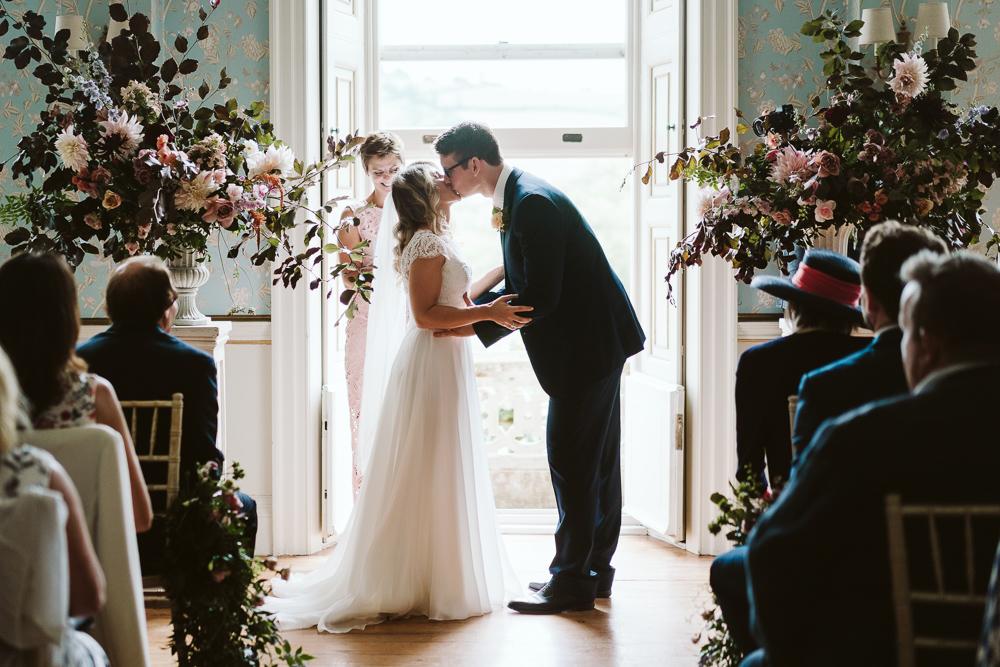 Bespoke Suzanne Neville Wedding Dress For A Weekend Wedding At Pynes House Devon