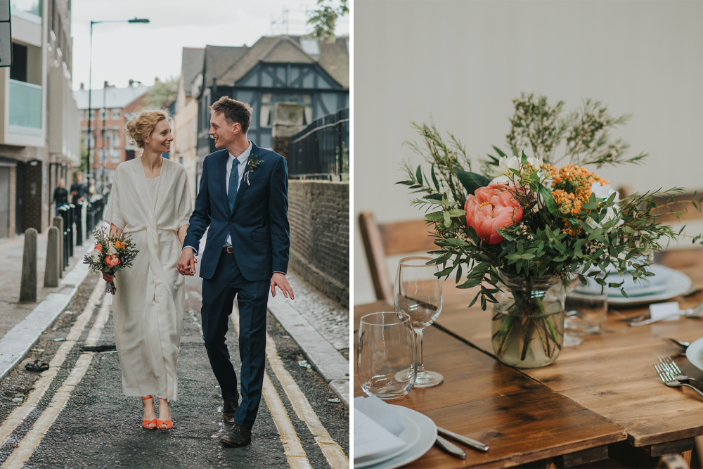 Coral Peony Humanist Wedding at The Tab Centre Shoreditch | Wrap Front Wedding Dress | DIY Flowers | Cake Tabel | Remain in the Light Photography