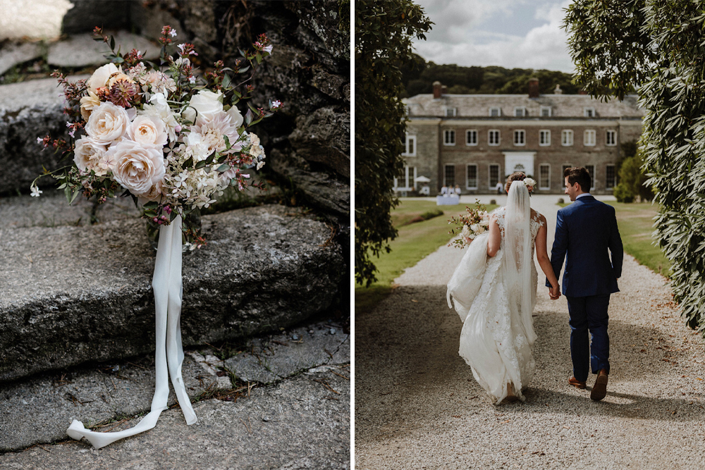 Outdoor Cornish Wedding at Boconnoc Estate | Lace Pronovias Wedding Dress | Mint Green Bridesmaid Dresses | Nick Walker Photography