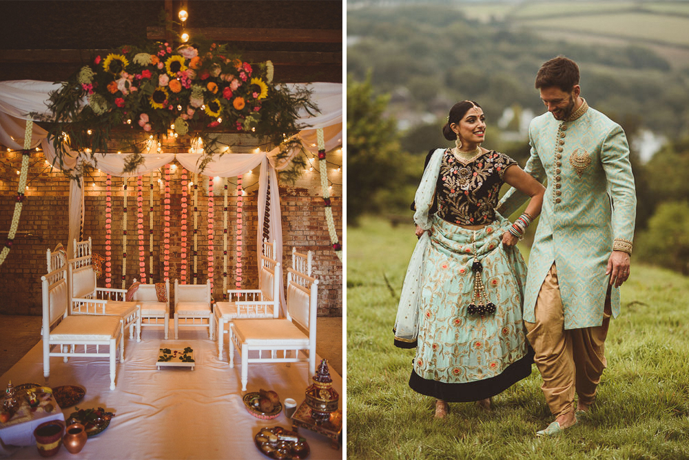 Fusion Rustic Indian Country Wedding at The Green Cornwall | Mandap & Giant Balloon Wedding Decor | Gatsby Lady Bridal Gown | Matt Penberthy Photography