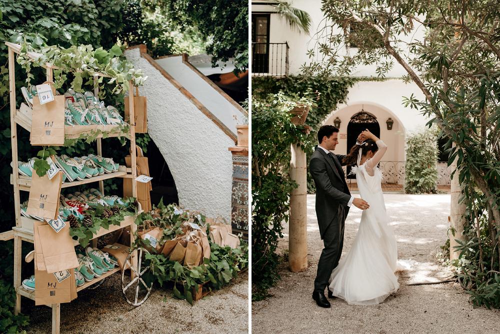 Converse Trainer Favours for a Malaga Wedding at La Casilla de Maera | Sole Alonso Wedding Dress | Sara Lobla Photography | Un Par de Medias Film
