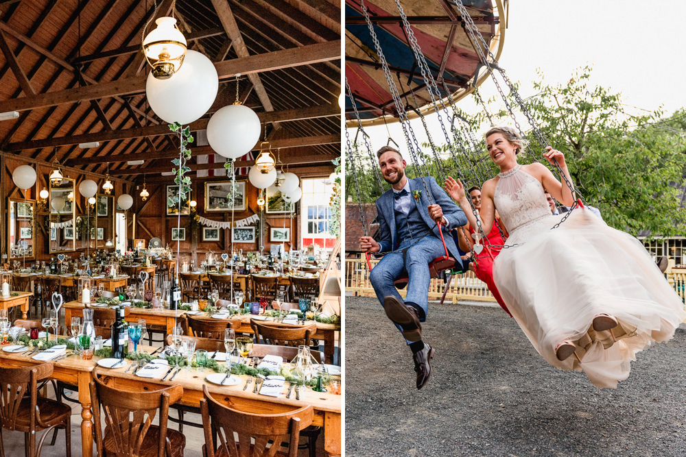 Vintage Fairground at Blists Hill Victorian Town Museum in Ironbridge | Halterneck Tulle Wedding Dress by Allure Bridal | Lisa Carpenter Photographer