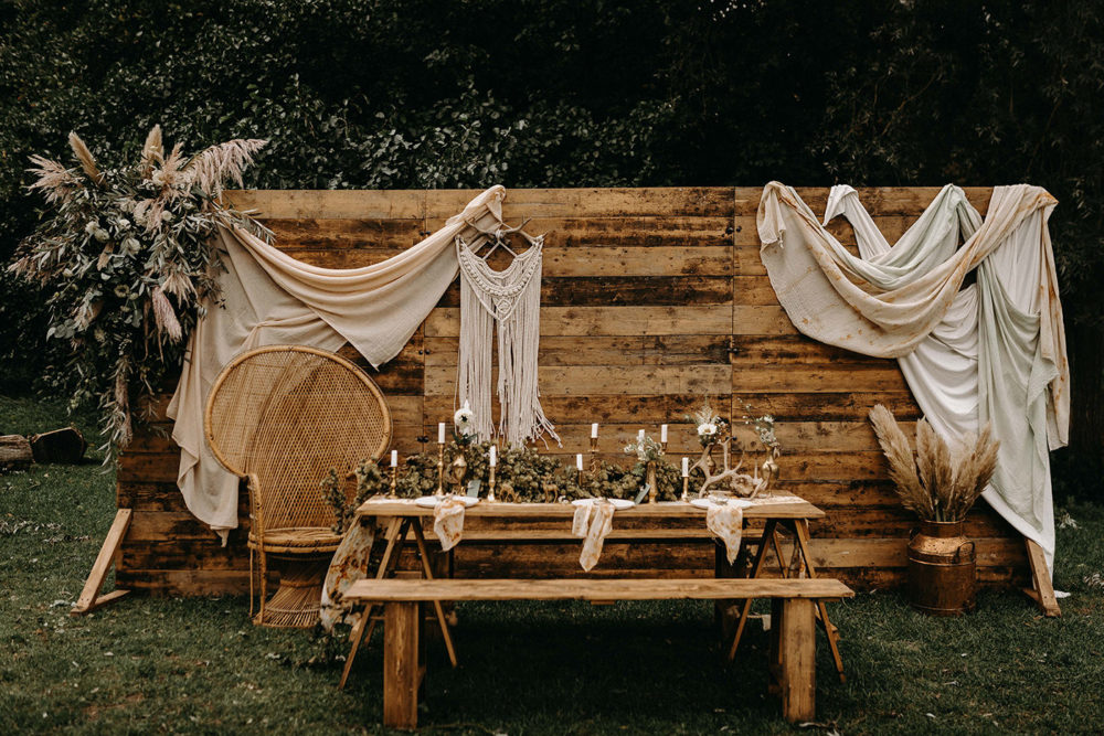 Nude Bohemian Wedding Inspiration With Dried Flowers Macrame