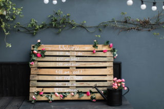 DIY Wooden Pallet Wedding Sign | DIY Order of the Day | Wedding Decor | Rustic Wooden Sign with Vibrant Faux Flowers