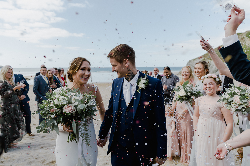 Lusty Glaze Beach Wedding Newquay Cornwall | Lace Long Sleeve Martina Liana Wedding Dress | Blue Jarlo London Bridesmaid Dresses | Alexa Poppe Photography