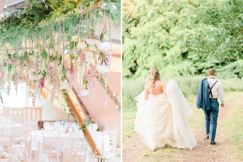 Hanging Flower Installation | Brinkburn Priory | Liz Martinez Wedding Dress | Sarah-Jane Ethan Photography