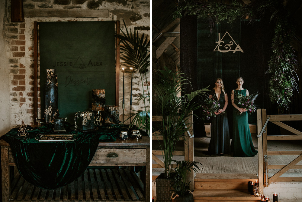 Forest Green and Black Dark Decadence Wedding Inspiration in a Rustic Barn Planned & Styled by Knots & Kisses with Images by Daze of Glory Photography