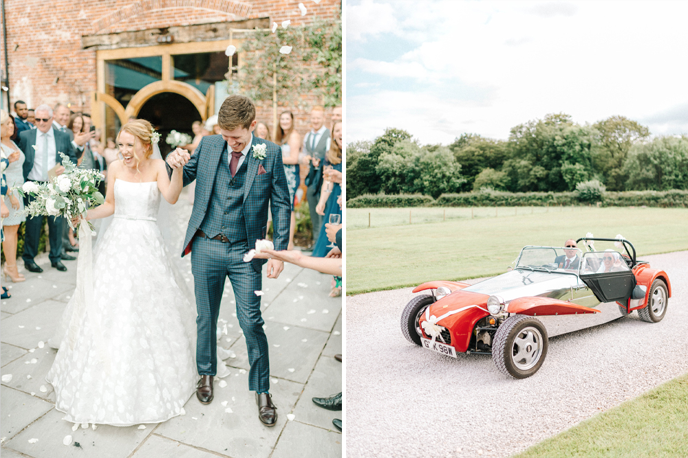 Hazel Gap Barn Wedding with Bride Arriving by Kit Car | Sassi Holford Wedding Dress | Valentino Rockstud Heels | Sarah-Jane Ethan Photography