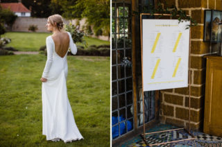 Ivania Pronovias Wedding Dress with Long Sleeves and Minimalist Styling   Dessy Bridesmaids Dresses   Voewood Wedding Venue   Chris Barber Photography