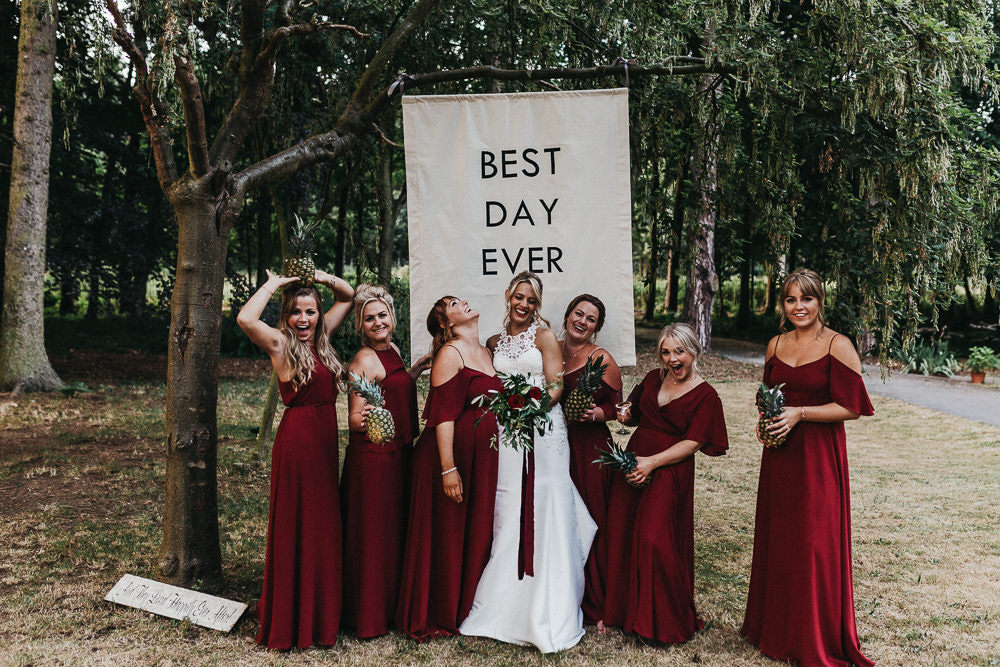 Nottinghamshire Wedding with Spanish Vibes and Rewritten Bridesmaids Dresses | Essence of Australia Gown | The Pumping House | Kev Elkins Photography