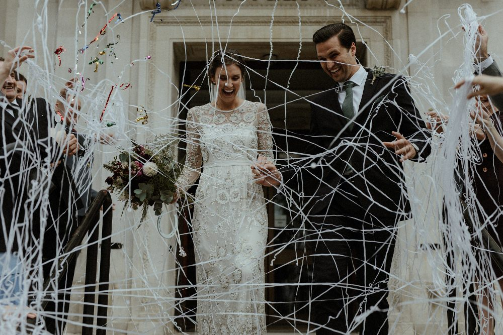 Beaded Needle & Thread Dress for Intimate Islington Wedding | Britten Veil | Bourne & Hollingsworth Buildings | Olivia & Dan Photography