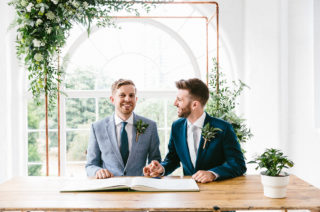 Same Sex Wedding with Industrial Styling at Wimborne House | Paul Smith Suit | Made-To-Measure Suit from Beggars Run Shoreditch | Marmelo Photography