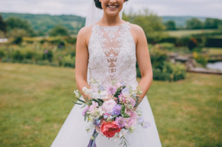 Halterneck Maggie Sottero Dress and Garden Games at Gate Street Barn | Beaded Halterneck Lisette Bridal Gown by Maggie Sottero | Story + Colour Photography
