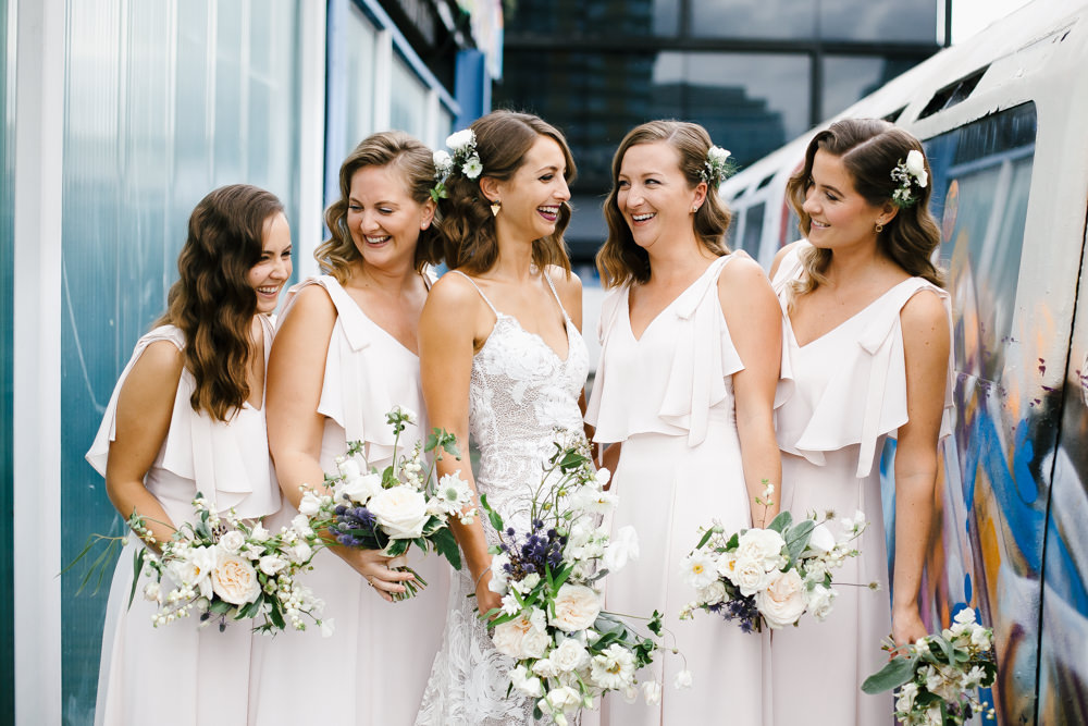 Rosa Grace Loves Lace Wedding Dress Shoreditch Wedding at Village Underground | Coast Bridesmaids Dresses | Chris Barber Photography