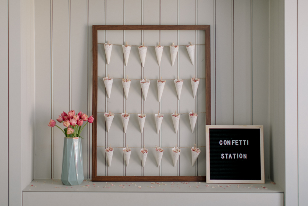 DIY Confetti Cone Station Tutorial with Wooden Frame, String & Doilies | Wedding Decor | Wedding Ideas | Wedding Planning | Photography & Styling by Rock My Wedding