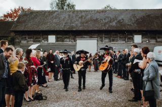Mariachi Band and Persian Rug Aisle for Autumn Wedding | Needle & Thread Astral Dress | Pimhill Barn | Waitrose Naked Wedding Cake | Leah Lombardi Weddings