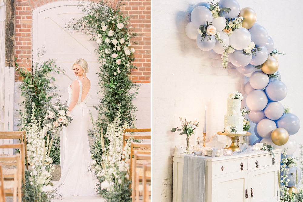 Powder Blue & Luxury Gold Wedding Inspiration with Wedding Balloons, Dessert Table & Floral Display Planned & Styled by Hayley Jayne Weddings & Events