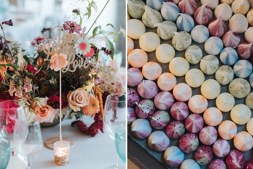 Meringue Kisses and Colourful Wedding Flowers for a London Wedding at The Globe by Miss Genn Photography