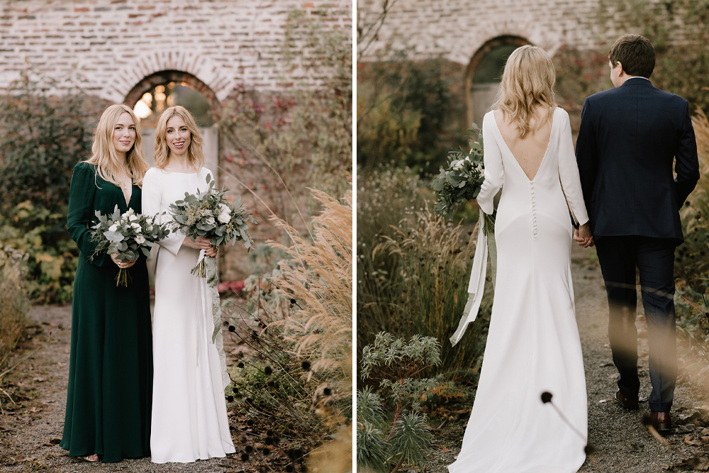Emerald Green Bridesmaid Dress for a Winter Wedding at Middleton Lodge with Bride in Andrea Hawkes, shot by Georgina Harrison Photography
