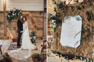 Geometric Wedding Decor & Styling by Locate to Create with Wooden Hexagonal Altar & Backdrop, Persian Rugs, Dried Flowers & delicious Desserts.