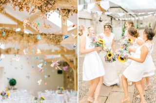 Colourful Paper Cranes & Sunflower Wedding Décor in Rustic Barn | Chiffon Polka Dot Dress by Kate Halfpenny | Doxford Barns | Sarah-Jane Ethan Photography