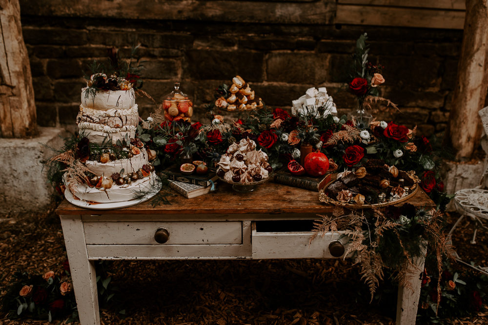 Bohemian Wedding Inspiration with Vintage Dresser Dessert Table