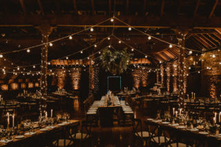 Festoon Light Canopy and Indoor Trees for Humanist Wedding in St Andrews, with Bride in Anne Priscilla Bridal and Groom in Kilt, by Carla Blain Photography