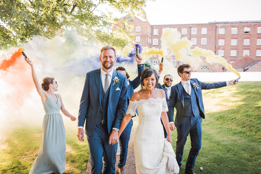 Smoke Bombs and Chinese Paper Fans Backdrop with Bride in Bardot Dress | Watters Wedding Dress | ASOS Bridesmaids Dresses | Twig & Vine Photography