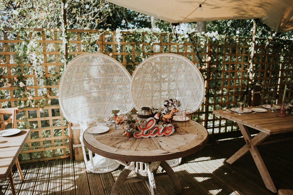 Peacock Chairs, Sweetheart Table and Leather Jackets for Autumn Wedding at The Copse, with Bride in Novia D'Art Dress, shot by Rosie Kelly Photography