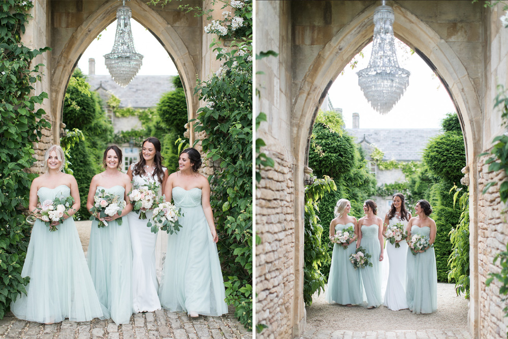Pale Green Bridesmaid Dresses for a Luxury Wedding at The Lost Orangery with Pizza Van and Italian-Inspired Styling, shot by Cecelina Photography