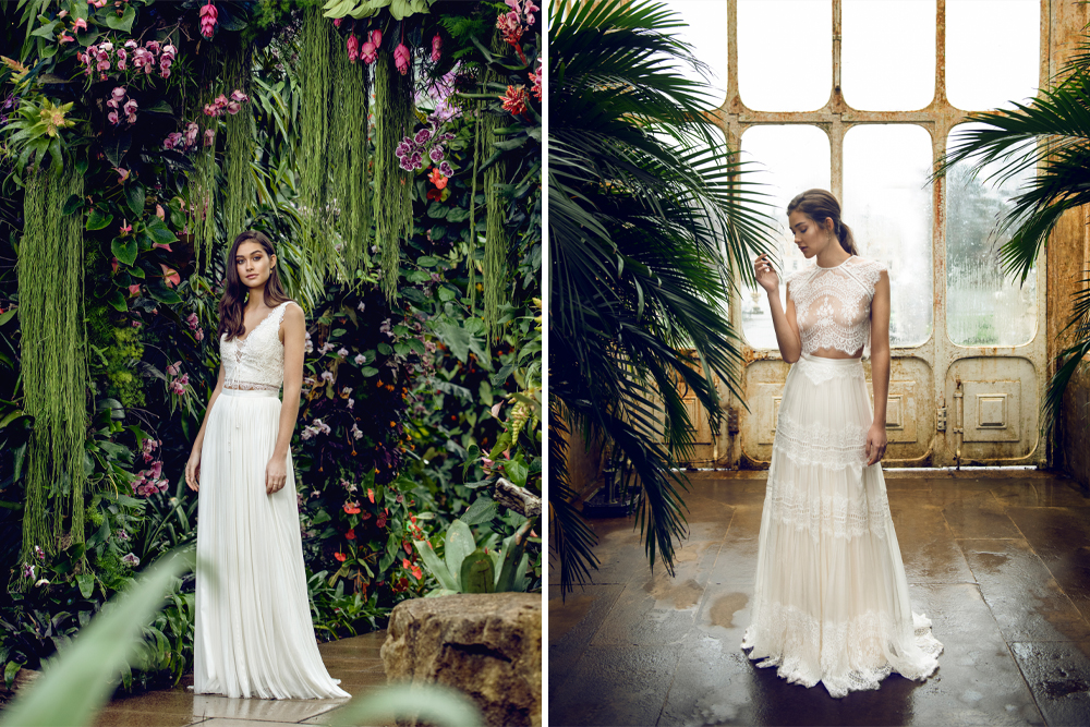 Catherine Deane Bridal Separates Collection 2019 featuring wedding dresses with geometric laces and beadwork, soft organic flowing laces and soft drapey silk tulles.