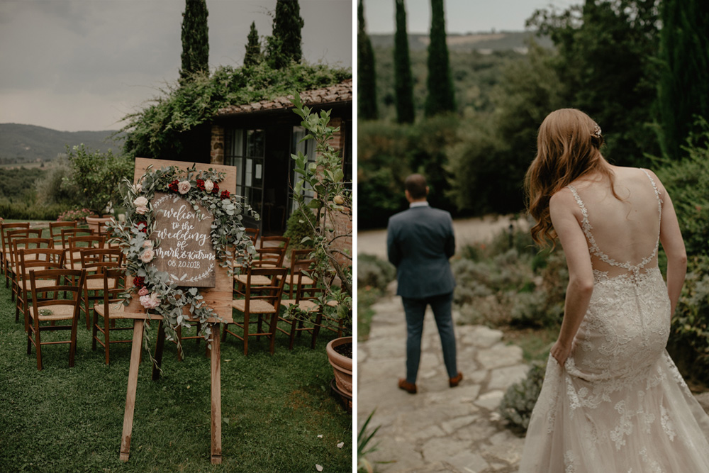 First Look for an Outdoor Destination Wedding in Tuscany with Wooden Signs and Lace Wedding Dress, shot by Federica Cavicchi Photography