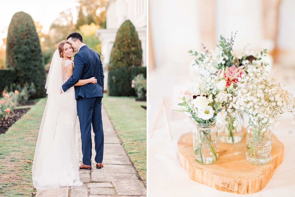 Rustic Luxe Wedding at Blake Hall by Summer Lilly Studio, with Bride in Lexi Dress by Enzoani and Bridesmaids in Monsoon Garland Maxi Dresses