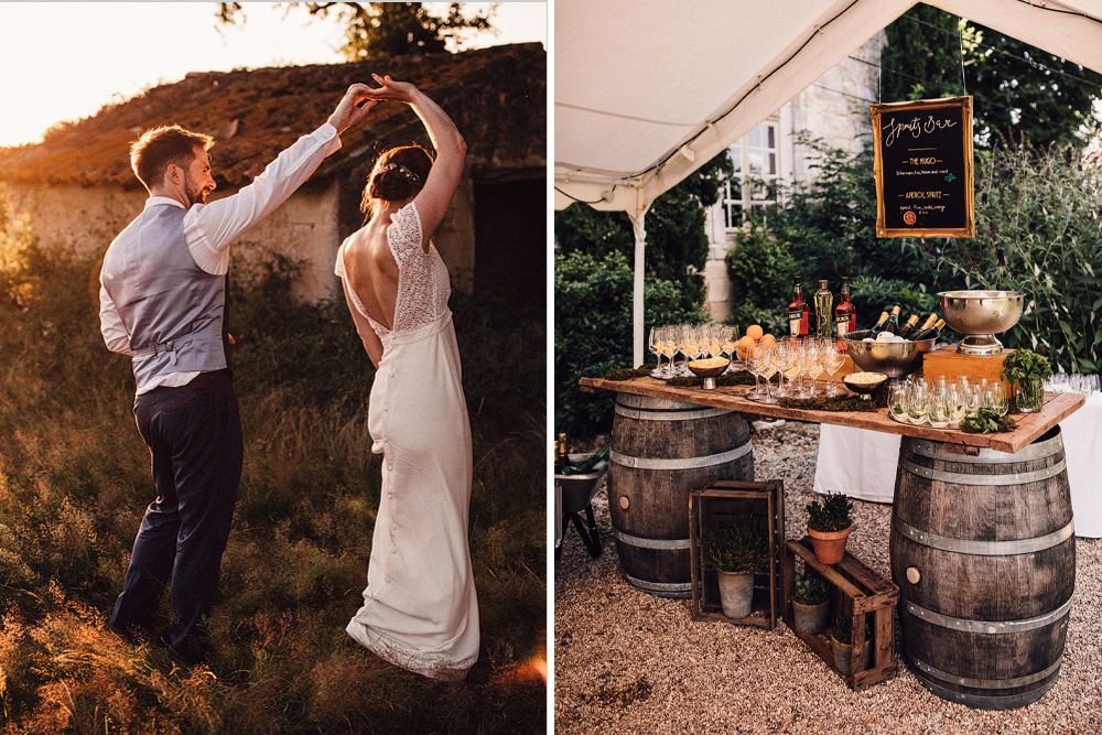 Aperol Spritz Bar at Chateau Rigaud French Destination Wedding with Bride in Foster Dress by Laure de Sagazan, shot by Samuel Docker Photography