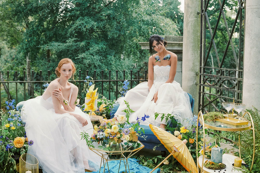 Yellow and Blue Colour Scheme Spring Wedding Inspiration at Hamstead Heath with Two Brides in Tulle and Applique Gowns and Gold Details