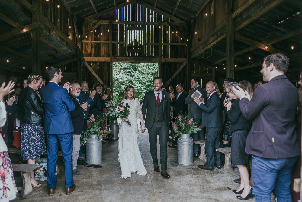 Nancarrow Farm Wedding in Cornwall with DIY Blush and Burgundy Dahlia Wedding Flowers and Bespoke Lace Wedding Dress with Long Sleeves by Ross Talling