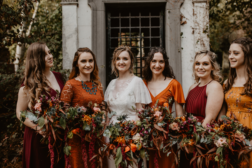 Autumnal Colour Scheme for a Gothic Wedding in London with Story of My Dress Bridal Gown and Doughnut Wall, shot by Camilla Andrea Photography