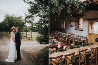 'Frida Kahlo' Flower Crown, Halfpenny London Bridal Separates and Colourful Bouquets with Peonies for Suffolk Wedding, shot by From The Smiths Photography
