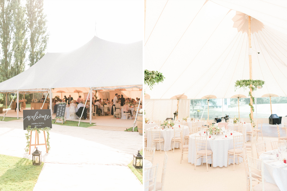PapaKåta Sperry Tent for an At Home Yorkshire Wedding with Foliage Decor, Suzanne Neville Wedding Dress & Lace Bolero by Sarah-Jane Ethan Photography